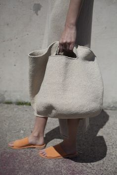 Lauren Manoogian Crochet Bowl Bag in Crudo My Bags, Purses And Bags, Crochet Bowl, Summer Bags, Knitted Bags, Straw Bag, Reusable Tote Bags, Textiles, Shoe Bag