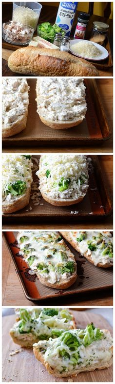 Chicken Alfredo Garlic Bread Pizza, might try this with gluten-free bread! If I can find a good tasting one!