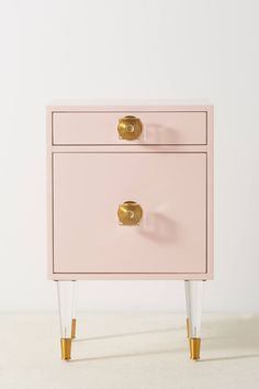 Lacquered Regency Nightstand by Anthropologie in Pink Size: S, Tables - Nail art Three Drawer Dresser, Dresser Drawers, Dressers, Flat Interior, Cafe Interior, Interior Doors, Interior Design, Interior Ideas, Pink Nightstands