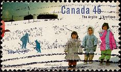 Canada.  Children.  Canadian Arctic.  Scott 1578 A643, Issued 1995 Sept. 15,  Perf.  Perf. 13x12 1/2, Booklet Stamps, 45c. /ldb. Canada, Antarctica, Postage Stamps, Booklet, Postcards, Colours, Children, Utility Pole, Arctic