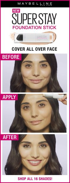 New Maybelline Super Stay Multi-Use Foundation Stick allows you to create a flawless look. Just look at the before and after photo! Simply apply all-over your face and use the sponge to buff and blend it out. Available in 16 shades at ULTA Beauty.