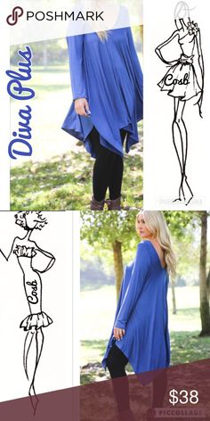 Sneak Peek...Diva Plus Denim Blue Dress Cute Diva Plus Denim Blue Dress. Dress is asymmetrical & has a V front & back. Has long sleeves & stops @ or above knee. Pair with ankle boots or leggings. Cosb Dresses Asymmetrical