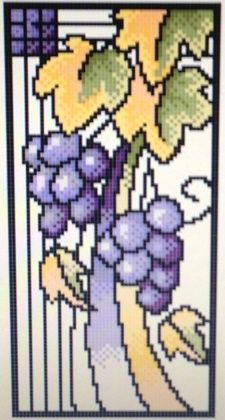 024 Art Nouveau Grapes 56W x 112H. Counted cross stitch. Pattern $5.00, Kit $12.09. Kits are customized. Kit includes instructions, pattern, pre-sorted thread, cloth in colour of choice (white, ivory, grey, black, oatmeal, dark blue, light blue, red) and in a choice of 14 count, 16 count, or 18 count. Available for purchase by emailing me @ shannon8@ mymts.net with your interested projects and you will be invoiced via PayPal where purchases can be paid for. Happy shopping!