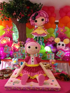 Lalaloopsy. Balloons on back wall, doll and mouse cut outs.