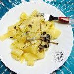 Pappardelle ai funghi chiodini con fonduta di gorgonzola dolce