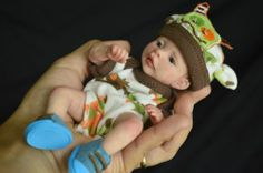 OOAK Baby Boy , Polymer Clay Hand Sculpted Art Doll 7 inches by Wendy Valles