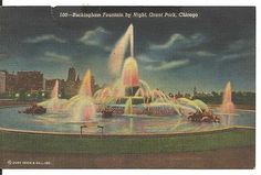 Vintage Linen Postcard Buckingham Fountain By Night Grant Park Chicago Illinois Buckingham Fountain, Grant Park, Chicago Illinois, Vintage Postcards, History, Night, Places, Image, Vintage Linen