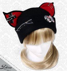 Cat Kitty Fleece Hat  Anime Cosplay Punk JRock  (Blood Red Ears with Zippers Ears)