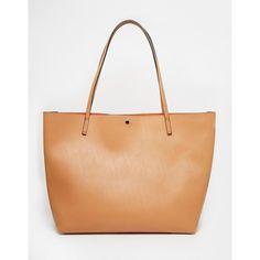 ASOS Bonded Shopper Bag ($38) ❤ liked on Polyvore featuring bags, handbags, tote bags, tan, tan handbags, asos, tan tote bag, shopping bag and shopper handbags