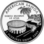 """American Samoa - July 2009 (April American Samoa Depicts the ava bowl, whisk and staff in the foreground with a coconut tree on the shore in the background. Caption: """"Samoa Muamua le Atua"""" - Charles L. Nebraska, Oklahoma, Wisconsin, Ohio, 50 States, United States, Land Of The Brave, State Quarters, Crater Lake"""