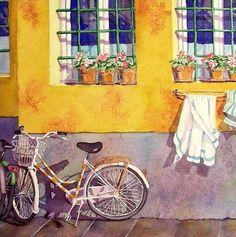 Bicycle Watercolor Paintings Print Painting by WatercolorByMuren