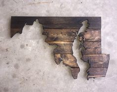 Super Rad Reclaimed & Upcycled Maryland State Rustic Wood Sign Cutout Wall Art Decor