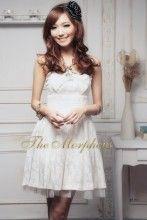 White Strapless Paisley Gauze Pleated Princess Mini Dress