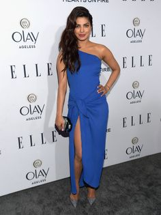 Priyanka Chopra Displays Her Sexy Figure In Blue Dress At ELLE's 6th Annual Women in Television Celebration At Sunset Tower in West Hollywood, LA ★ Desipixer  ★