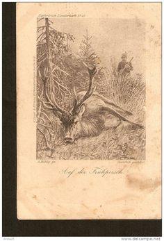 A. Muhlig picture - Kupferdruck-Kunstlerkarte No.47 Auf der Fruhpirsch - Heuer & Kirmse Berlin W30