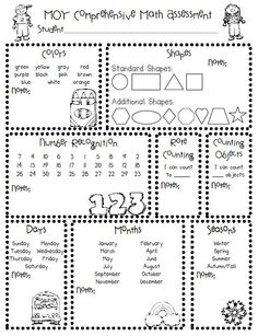 PreK Assessment Forms  Math Skills Literacy And Free Printable
