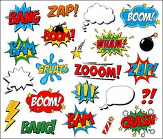 Superhero Clipart Comic Book Clip Art Comic Text Speech Bubbles - Boom, Zap, Bang, Bam, Crash, Pow Sounds Sayings