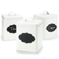 """METAL CANISTERS WITH CHALKBOARD FRONT SMALL. Powder-coated steel, 5.5"""" x 5.5"""" x 6.5"""", $12.99 ea. #AvonLiving #Kitchen #Campaign 20-23 Visit my online store @ www.youravon.com/amartinez8866"""