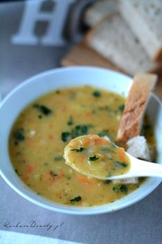 zupa grochowa Soup Recipes, Cooking Recipes, Polish Recipes, Polish Food, Tasty, Yummy Food, Soups And Stews, Cheeseburger Chowder, Food And Drink