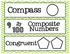 6th Grade Math Common Core Word Wall Words
