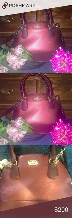 """✨COACH MINI METALLIC CORA DOME✨beautiful  color ✨✨COACH MINI DOME """"CORA"""" Metallic BICOLORCHERRY ✨✨STILL REDUCED IN PRICE BUNDLE THIS BEAUTY✨✨. MAKE A OFFERCrossgrain Dome Crossbody Handbag 36054 NWTO This beautifully hand crafted purse is made from Coach leather. Inside zip, one pocket.fabric lining. Cross grain leather