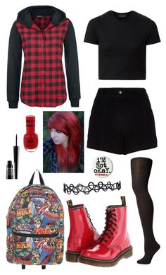 """Emo"" by pipertehcat ❤ liked on Polyvore featuring River Island, Hue, Dr. Martens, Lord & Berry, emo, scene and goth"