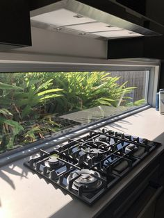 Gas oven top with window splash back Oven Top, Open Living Area, Gas Oven, Aluminium Windows, Granny Flat, Minimalist, Kitchen, Home, Cooking