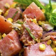 Watermelon Salad with Grilled Corn, Olives, and Goat Cheese Recipe