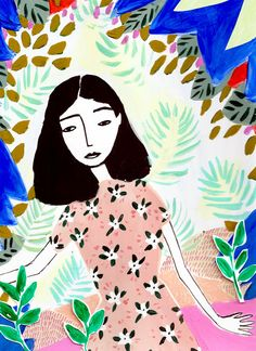 Coyote Atelier illustration love: sweet and colorful floral portraits from whatktdoes.com