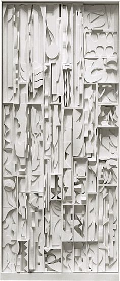 Louise Nevelson / White Vertical Water / 1972 / Painted wood, 26 sections, 18 x 9 feet Oh the complexities of it all - it's too much - I adore this! Louise Nevelson, Art Sculpture, Abstract Sculpture, Abstract Art, Water Abstract, Abstract Expressionism, Joseph Cornell, Arte Yin Yang, Claude Monet