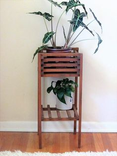 Mid century plant stand/ slated wood seventies plant stand/