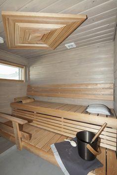 Beautiful sauna.............. Finland Traditional Saunas, Finnish Sauna, Sauna Room, Western Red Cedar, Extra Seating, Basin, Simple Designs, Scandinavian, Helsinki