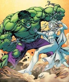 The Hulk vs Emma Frost  Oh my gosh this fight would be so great. Emma would just have to turn into her Diamond form. Hit him once or twice in the head. Turn back to her human form and telepathically sedated him.