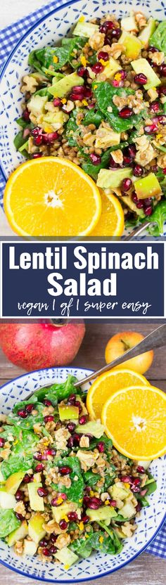 This lentil spinach salad is one of my favorite vegan dinner recipes! It's super easy to make, gluten-free, and so delicious! And it's such a healthy vegan salad packed with protein and vitamins. Perfect for picnics and potlucks. <3 | veganheaven.org