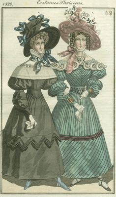1828 Costumes Parisiens, no.43 from Antique Pattern Library