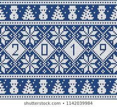 Christmas and New Year Design. Fair Isle Seamless Knitting Pattern Christmas and New Year Design. Christmas Stocking Pattern, Knitted Christmas Stockings, Christmas Knitting Patterns, Motif Fair Isle, Fair Isle Chart, Mosaic Patterns, Loom Patterns, Cross Stitch Patterns, Jersey Jacquard