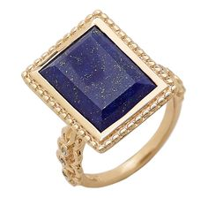 Kristian Alfonso Sterling Silver & Yellow Gold Vermeil Square Lapis & Diamond Ring