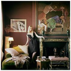 Mark Shaw Editioned Photo-Nico in Apartment of Henri Samuel-1960. Richness of colors.  Animal print. Modern paintings.