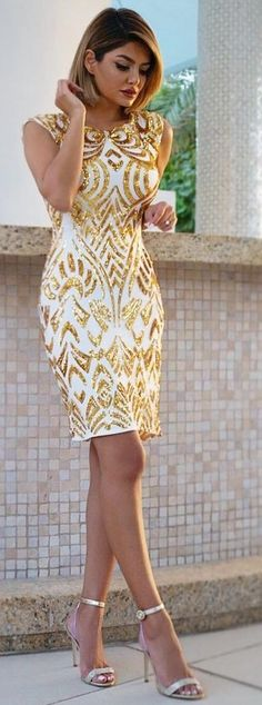 #summer #feminine #style #outfitideas | Gold Sequin Embellished Dress