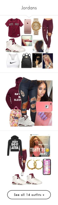 """""""Jordans"""" by hellokittynascia ❤ liked on Polyvore featuring NIKE, Stussy, Michael Kors, ASOS, JanSport, LifeProof, Forever 21, WearAll, J.Crew and HUF"""