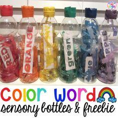 How to make color word sensory bottles for your preschool, pre-k, or kindergarten classroom. (freebie too)