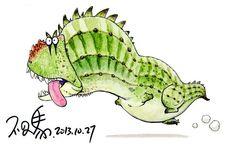 Majungasaurus by bu2ma on DeviantArt dinosaur cartoon character design paleo watercolor daily cute