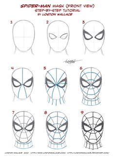 Spider-man's Mask Tutorial by *LostonWallace on deviantART                                                                                                                                                      Más