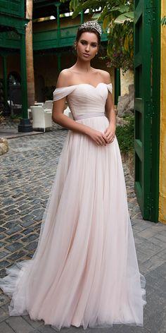 Elegant Tulle Off-the-shoulder Neckline A-line Wedding Dress With Belt
