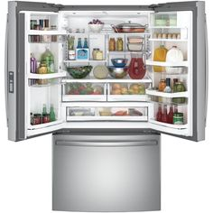 GE Profile 23.1 cu. ft. French Door Refrigerator in Stainless Steel, Counter Depth-PWE23KSKSS - The Home Depot