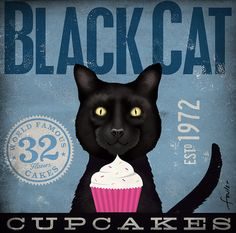 Black Cat cupcake company artwork graphic illustration signed archival print 12 x 12 by Stephen Fowler