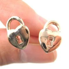 Key to My Heart | Heart Shaped Lock and Key Stud Earrings in Rose Gold