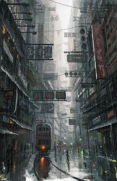 Asian steampunk, steampunk city, steampunk artwork, city in the sky, dark city Cyberpunk City, Ville Cyberpunk, Cyberpunk Kunst, Futuristic City, City Wallpaper, Anime Scenery Wallpaper, Aztec Wallpaper, Glitter Wallpaper, Screen Wallpaper