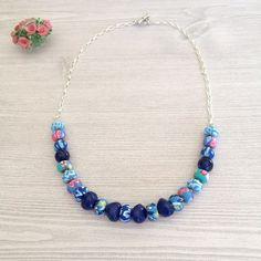 Polymer Clay Necklace Set Poly Clay Blue by BarbsBeadedJewelry