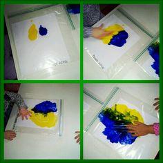Finger painting in zip-lock bags- Preschool Activities